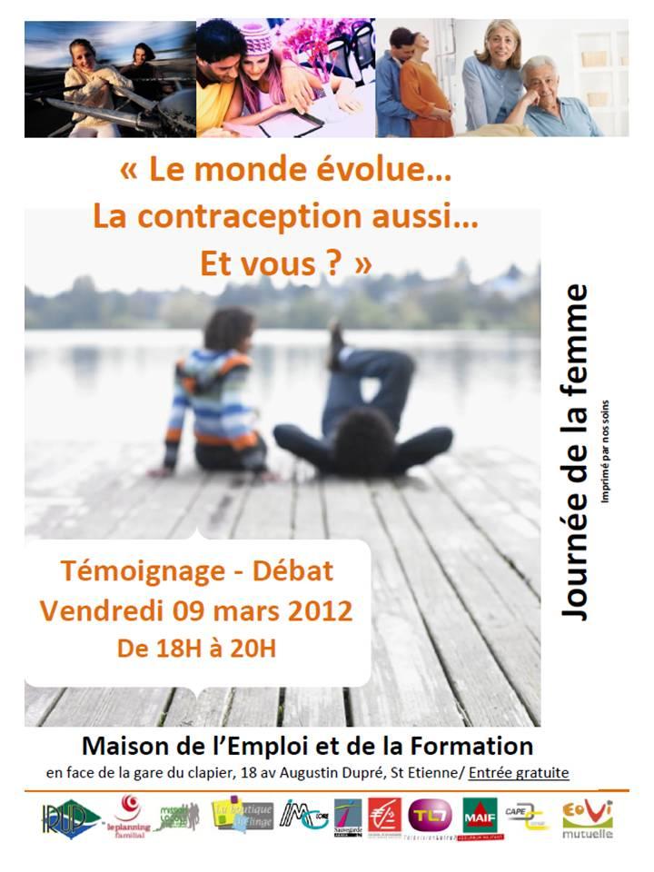 Débat sur la contraception : Journée de la Femme le 9 mars 2012 à Saint-Etienne dans BuzzDM affiche